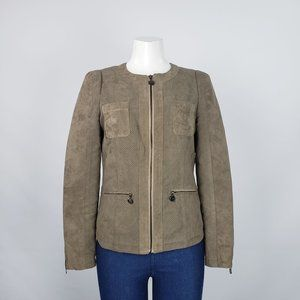 Ness Olive Faux Suede Jacket Size S